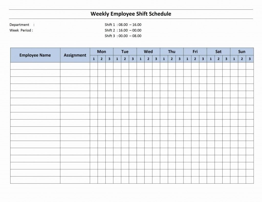 7 Day Employee Schedule Template | Blank Calendar Template 7-4 Day Work Week Template