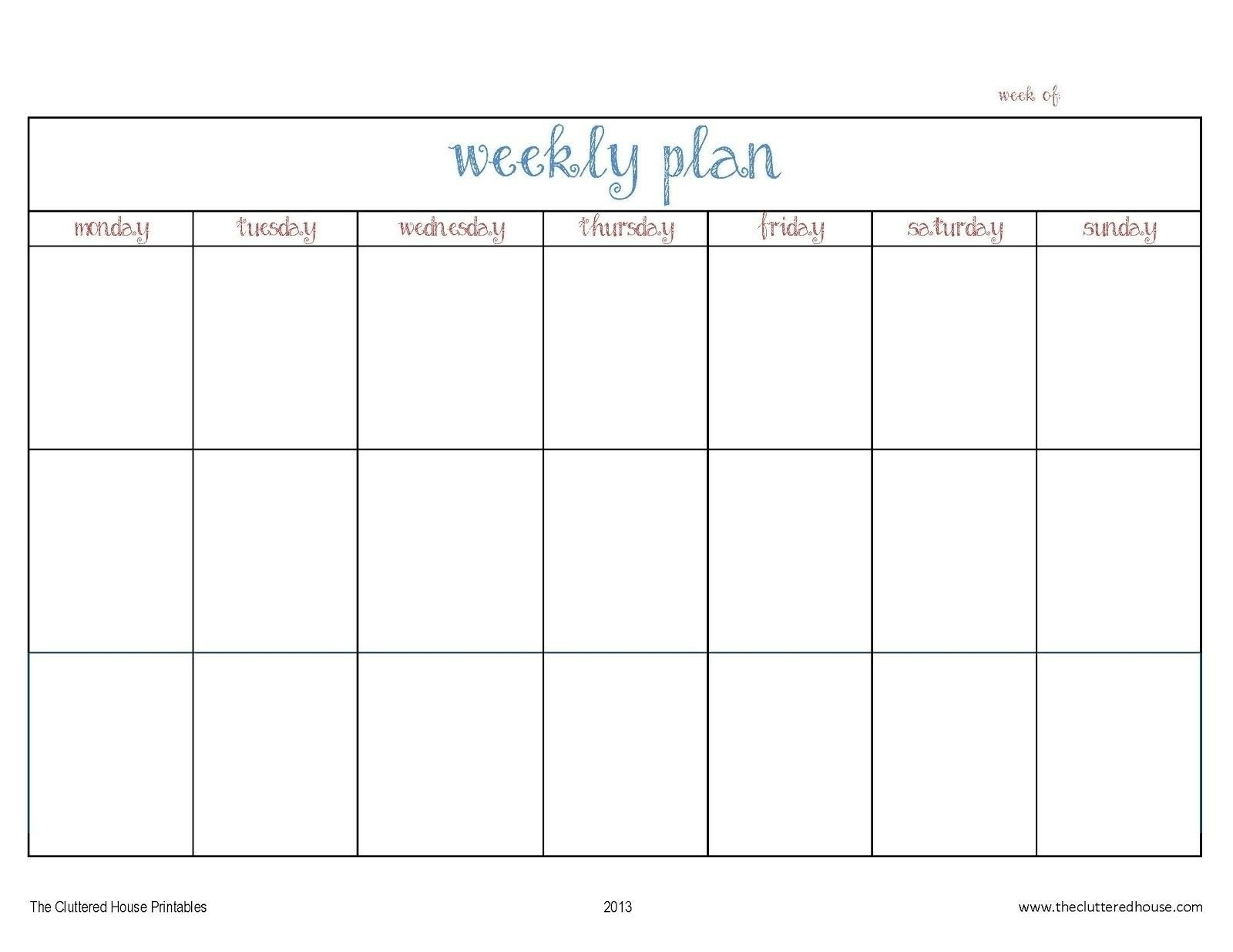 7 Day Week Calendar Template | Ten Wall Calendar-7 Weeks Calendar Template