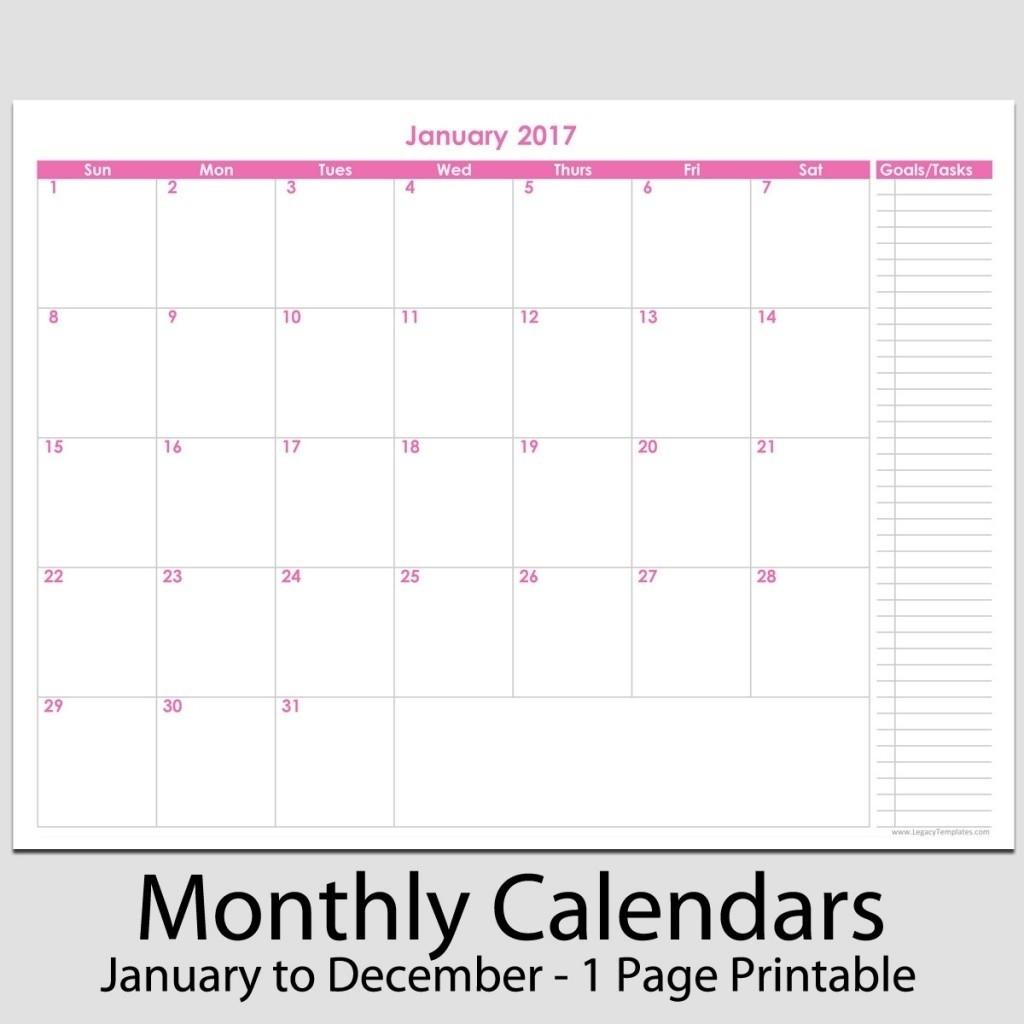 8.5 X 11 Monthly Calendar • Printable Blank Calendar Template-8.5 By 11 Blank Calendar Month