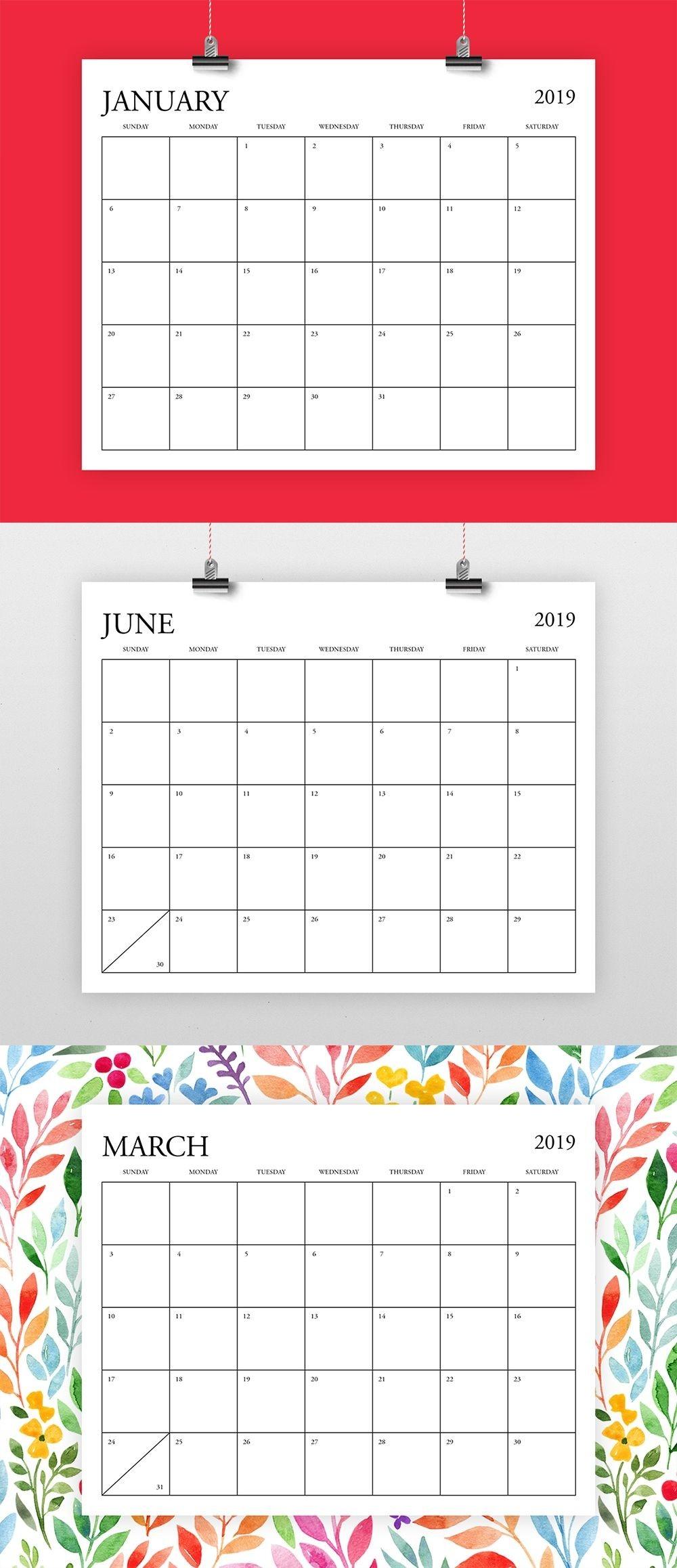 "8X10 Inch 2019 Calendar Template | *fits 8.5"" X 11"" Home-8X 10 Monthly Calaendar Printable"