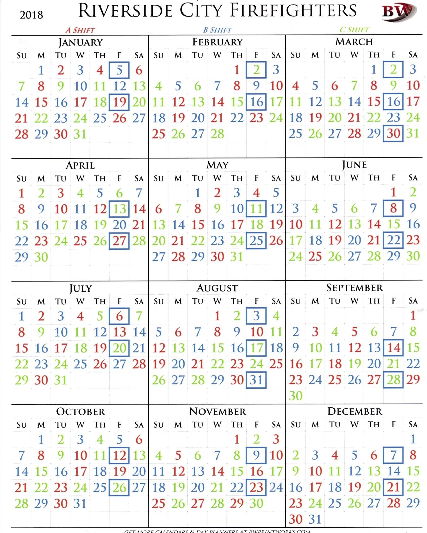 A B C Shift Calendar | Ten Wall Calendar-Firefighter Shift Calendar Template