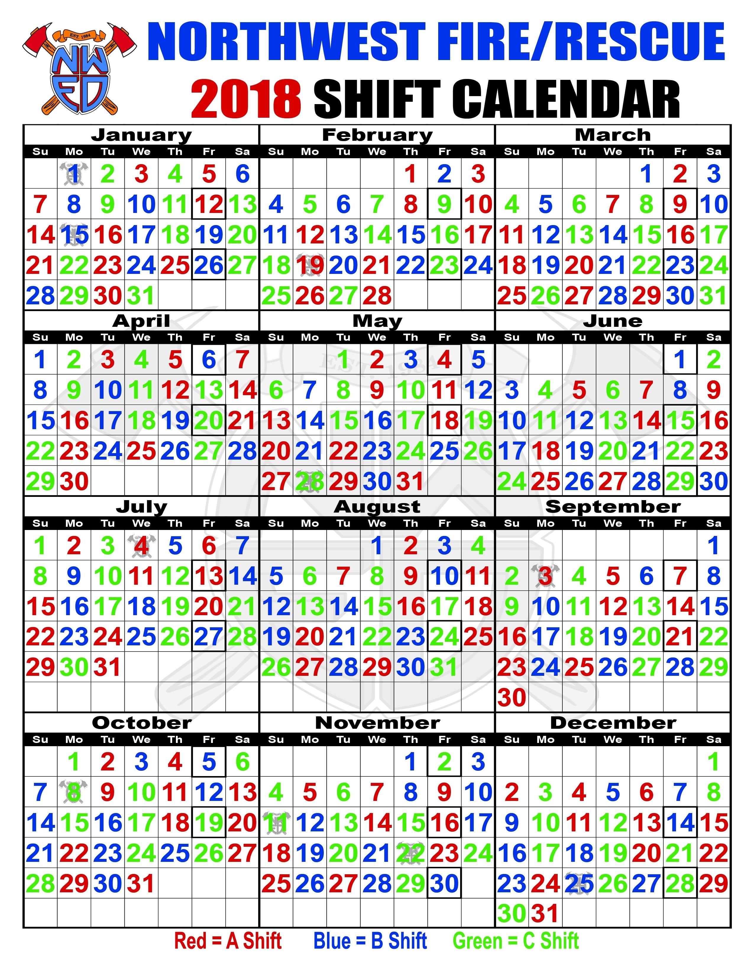 Abc Firefighter Shift Calendar 2018 Printed For Cost-Free-Firefighter Shift Calendar Template
