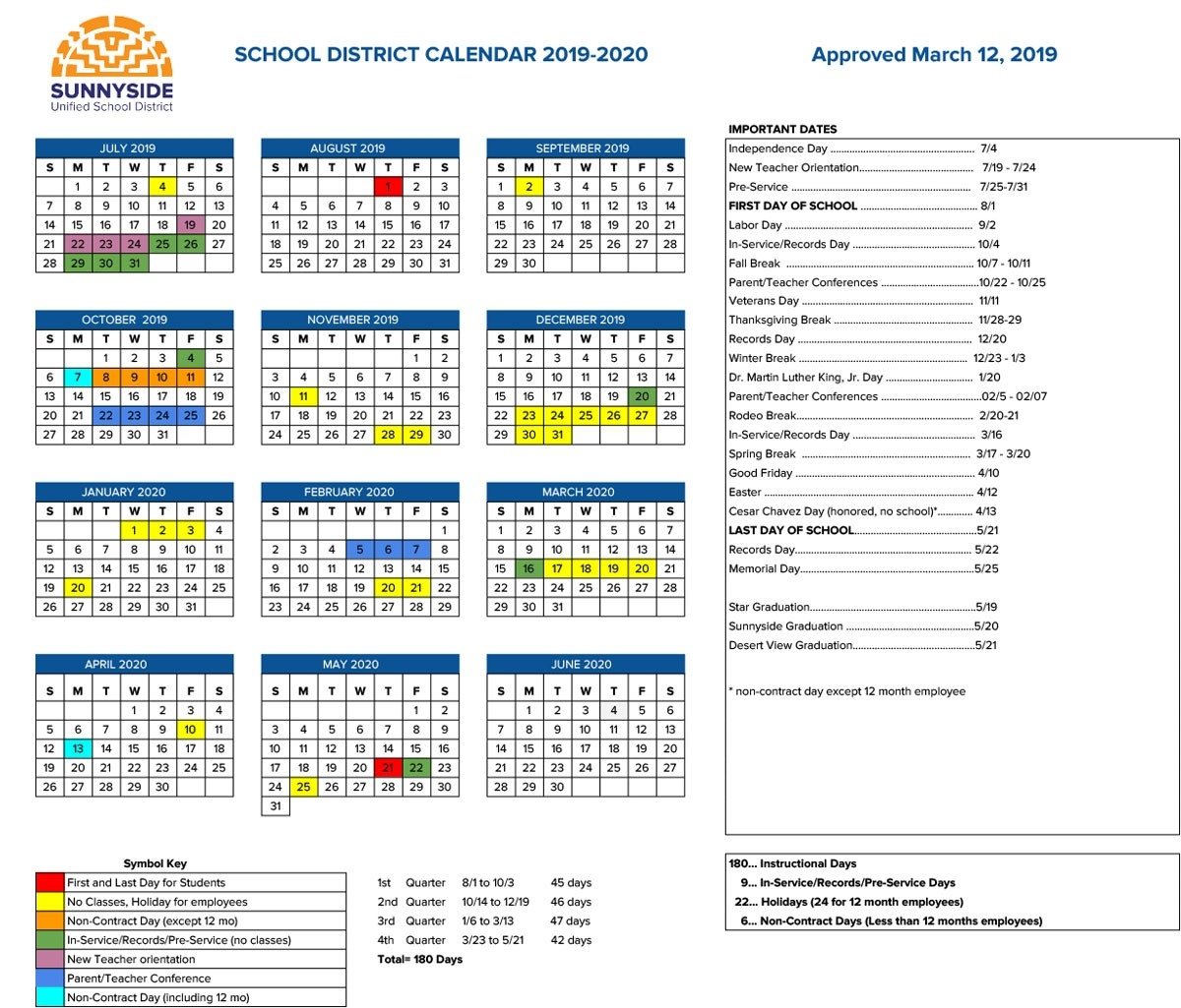 Academic Calendar | Sunnyside Unified School District-Key West Calendar January 2020