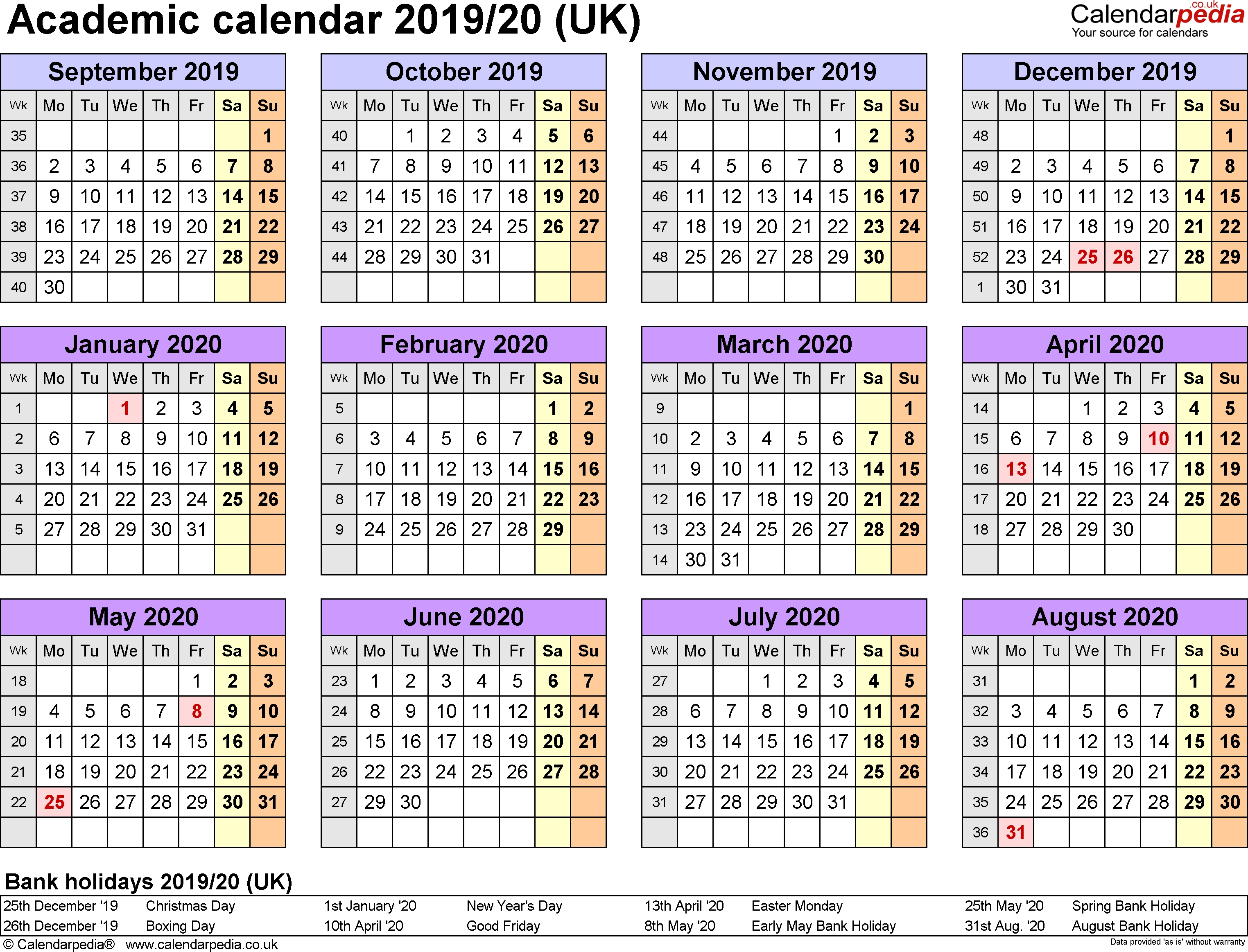 Academic Calendars 2019/2020 As Free Printable Word Templates-2020 Printable Calendar Templates Uk