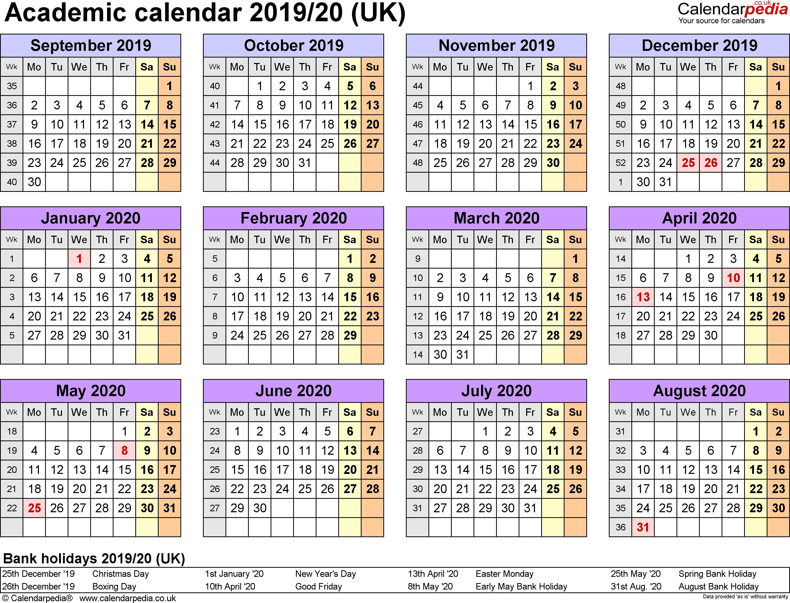Academic Calendars 2019/2020 As Free Printable Word Templates-Calendar 2020 Printable With Bank Holidays