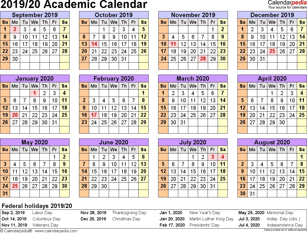 Academic Calendars 2019/2020 - Free Printable Excel Templates-At A Glance Academic Planner 2020 Template