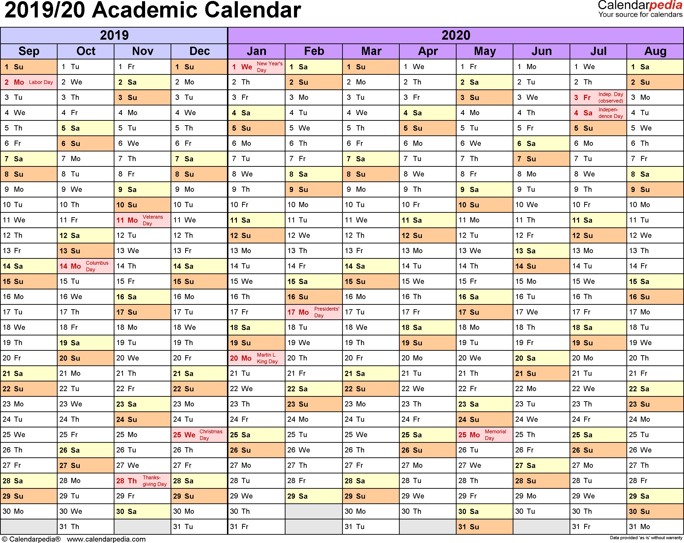 Academic Calendars 2019/2020 - Free Printable Excel Templates-Fiscal Year 2020 Academic Calendar Template