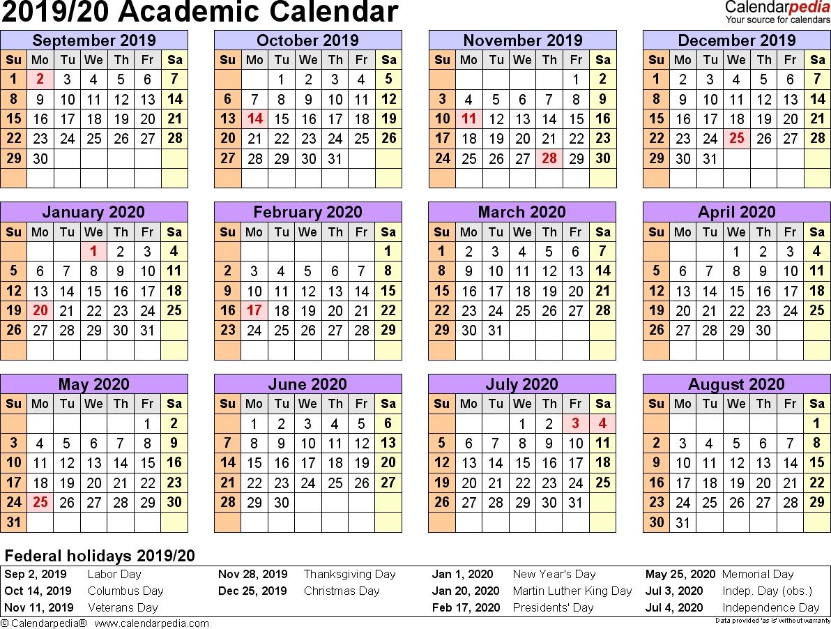 Academic Calendars 2019/2020 - Free Printable Word Templates-Free Printable 4X6 Calendars 2020 Templates