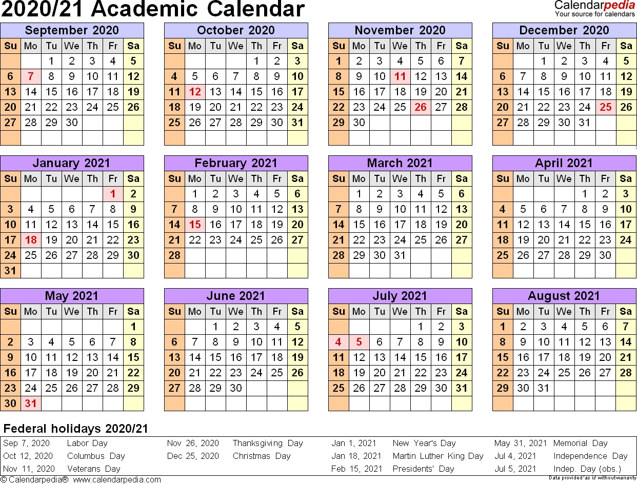 Academic Calendars 2020/2021 - Free Printable Pdf Templates-At A Glance Academic Planner 2020 Template