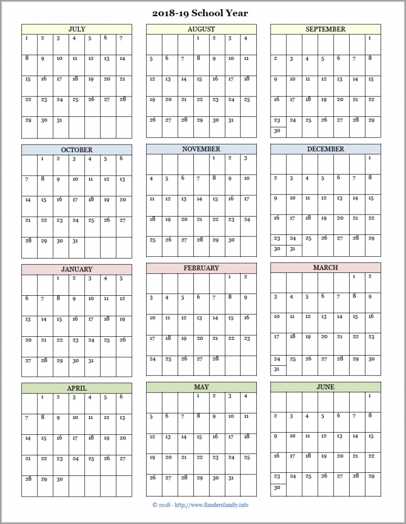 Academic Calendars For 2018-19 School Year (Free Printable-2020 Absentee Calendar Template