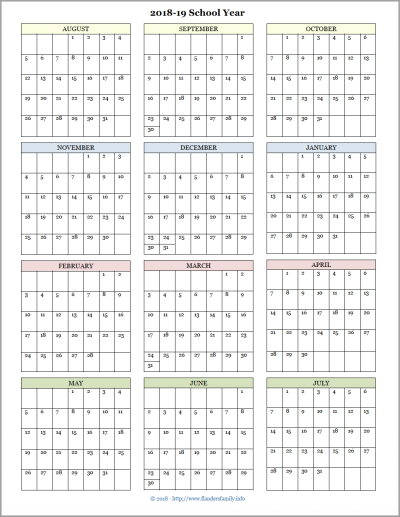 Academic Calendars For 2018-19 School Year (Free Printable-School Calendar Blank At A Glance