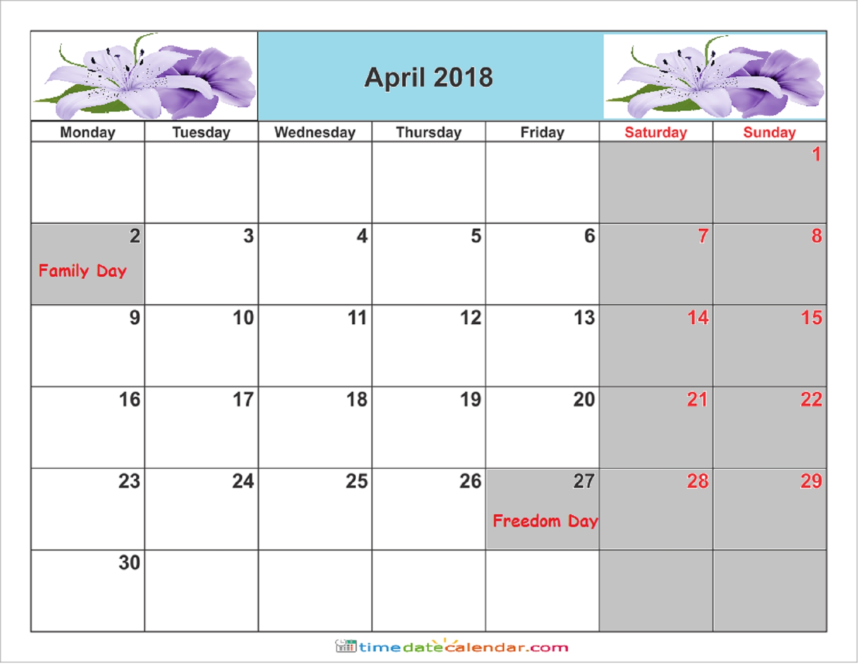 April 2018 Calendar South Africa - Free Printable Template-Calendar Template South Africa