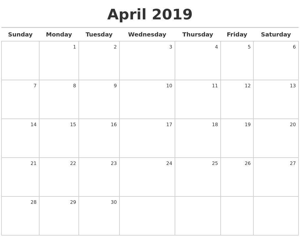April 2019 Printable Calendar Blank Templates Holidays-Build A Saturday To Friday Monthly Calendar