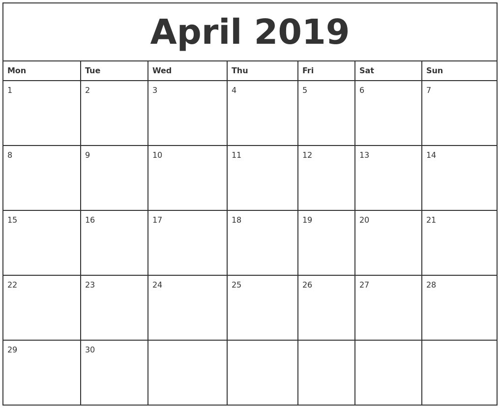 April 2019 Printable Monthly Calendar-Monthly Calendar Starting Monday