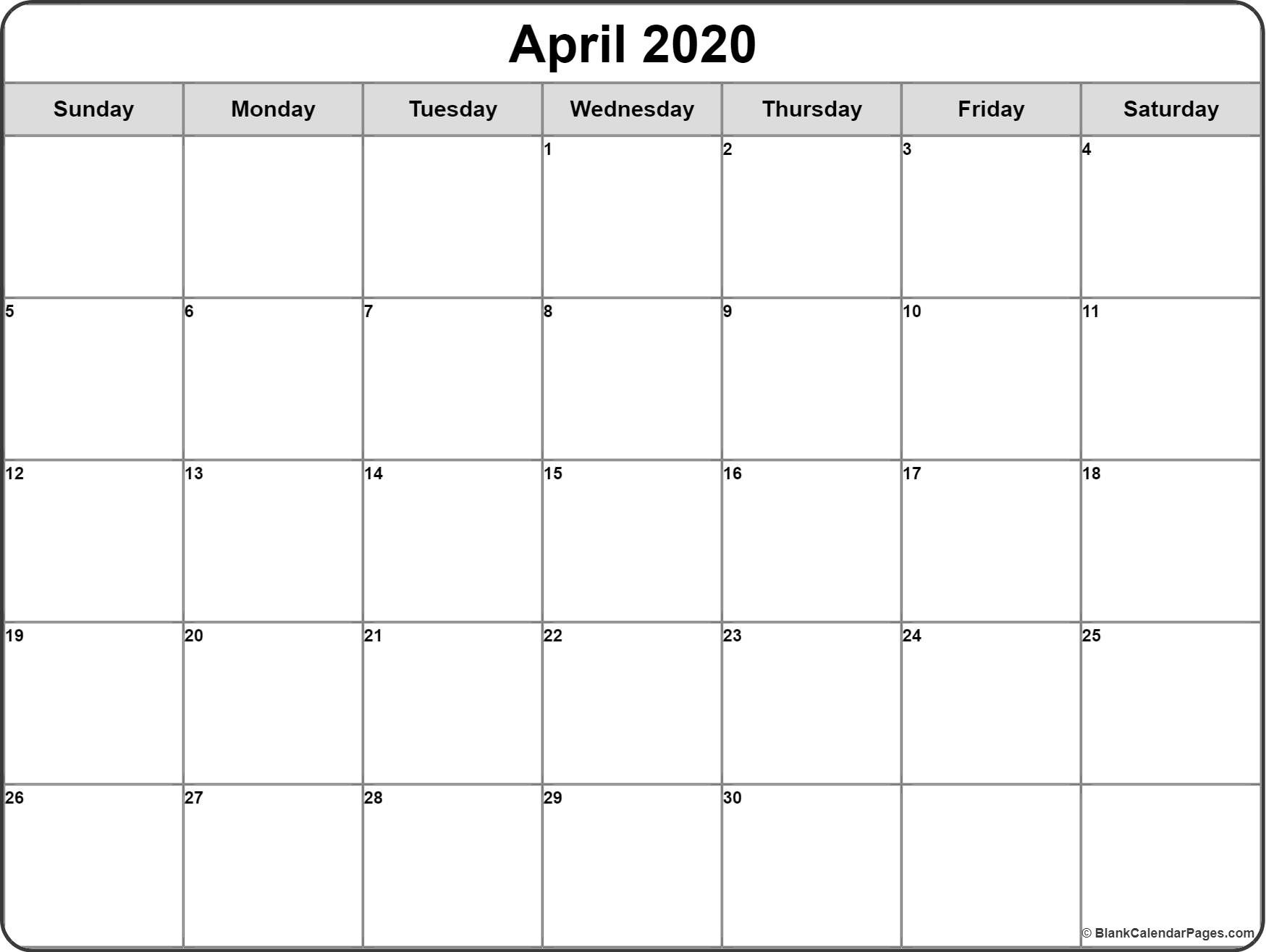 April 2020 Calendar   Free Printable Monthly Calendars-Fill In Calendar April 2020 Template