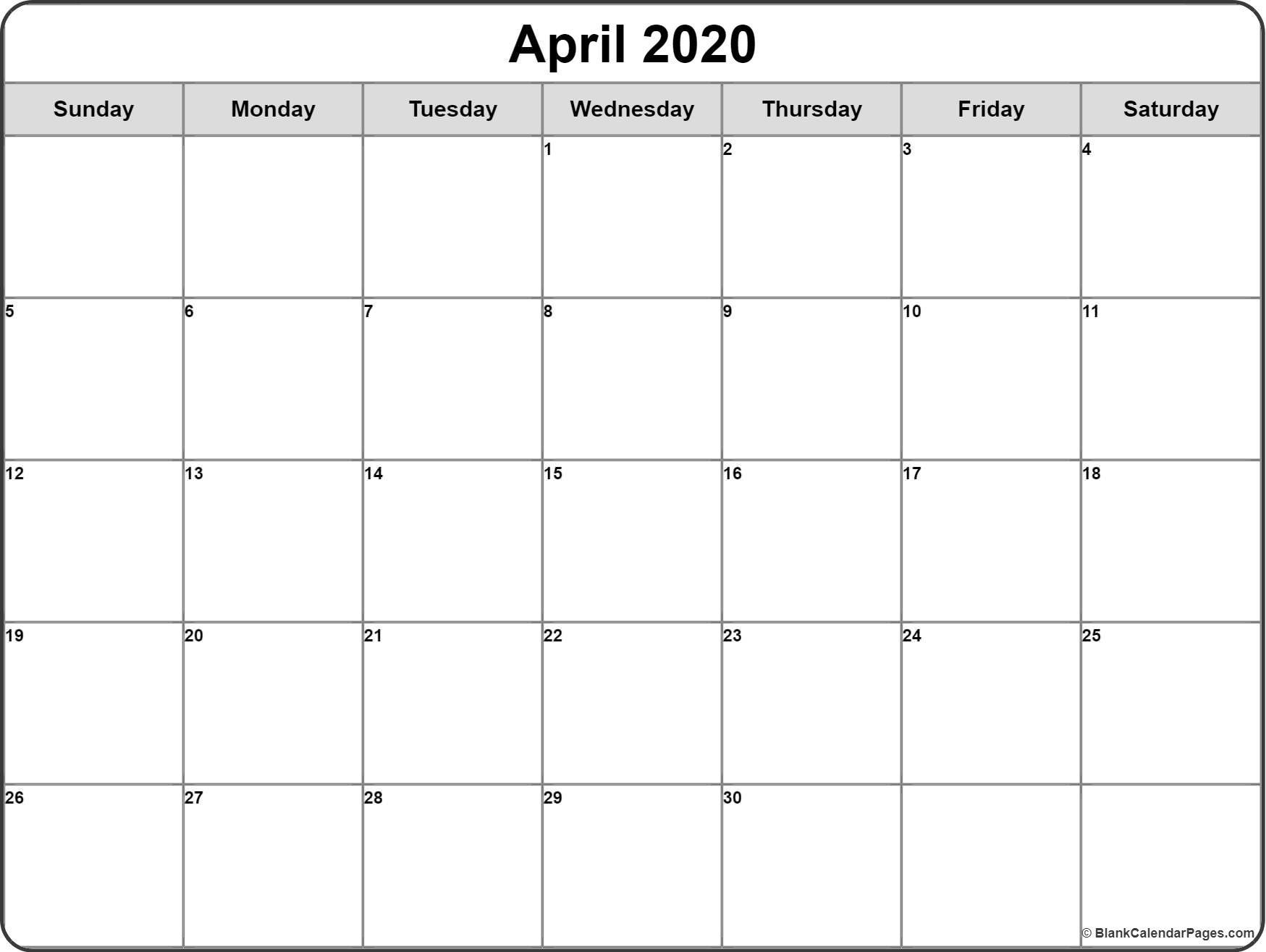 April 2020 Calendar   Free Printable Monthly Calendars-Fill In Calendar Template 2020