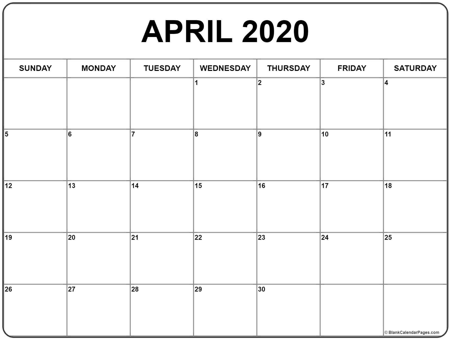 April 2020 Calendar | Free Printable Monthly Calendars-Printable Blank Calendar Pages Free 2020