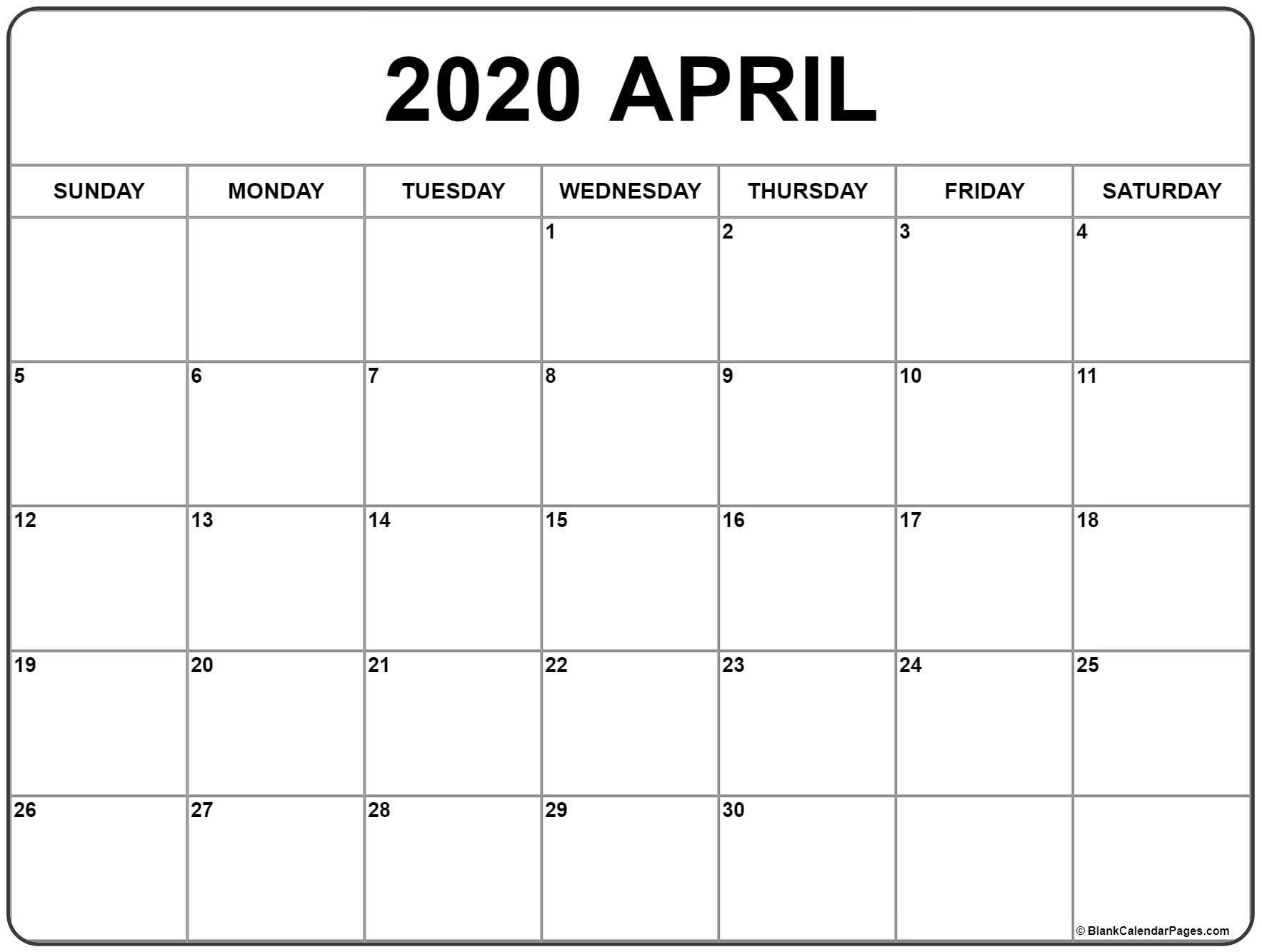 April 2020 Calendar | Free Printable Monthly Calendars-Printable Monthly Bill Pay Calendar 2020