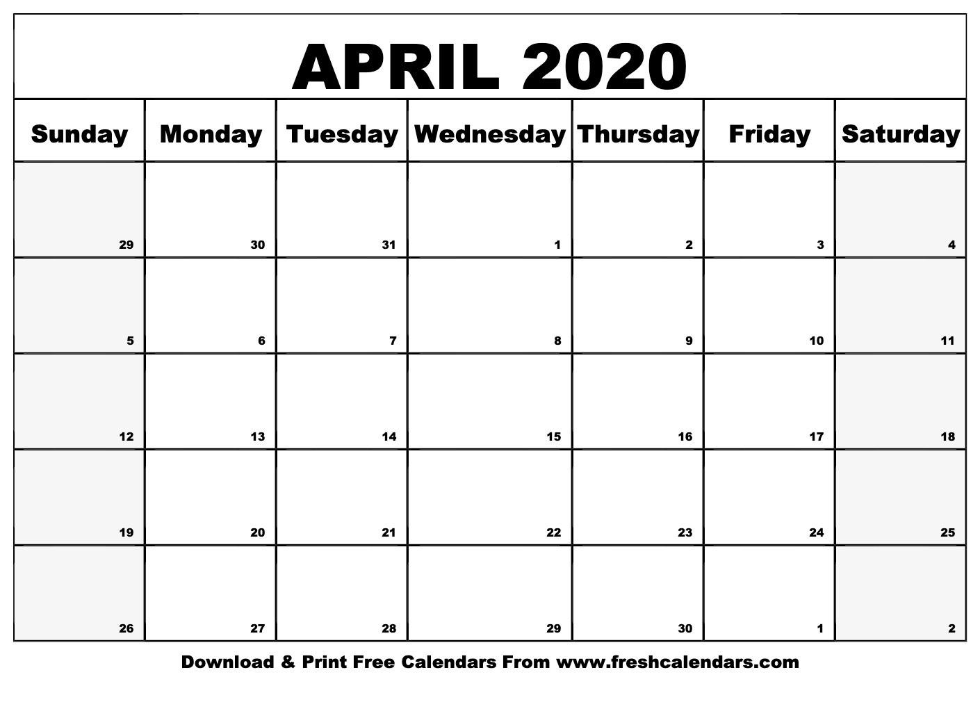 April 2020 Calendar Printable - Fresh Calendars-Fill In Calendar April 2020 Template