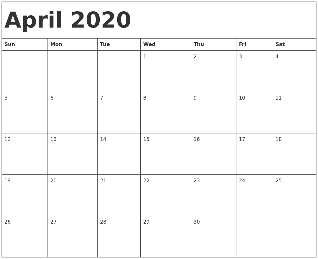 April 2020 Calendar Template-Fill In Calendar April 2020 Template