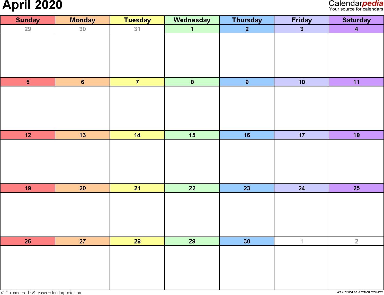 April 2020 Calendars For Word, Excel & Pdf-Free Fillable 2020 Calendar Template