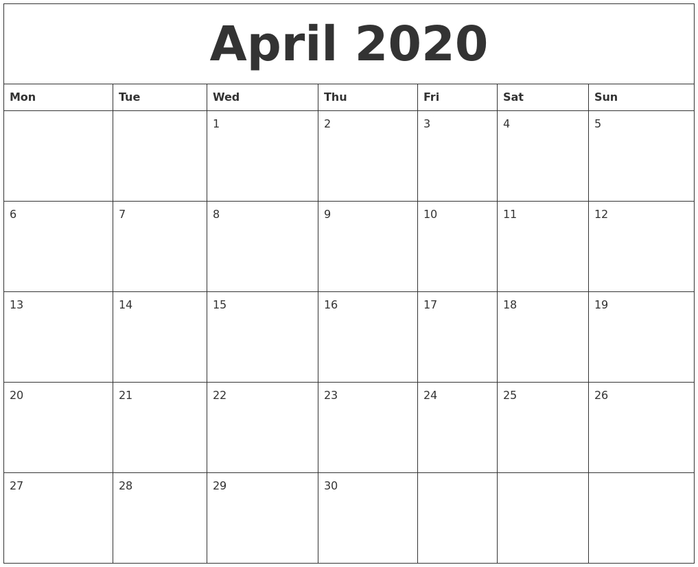 April 2020 Large Printable Calendar-Printable 2020 Monthly Calendar Monday Start