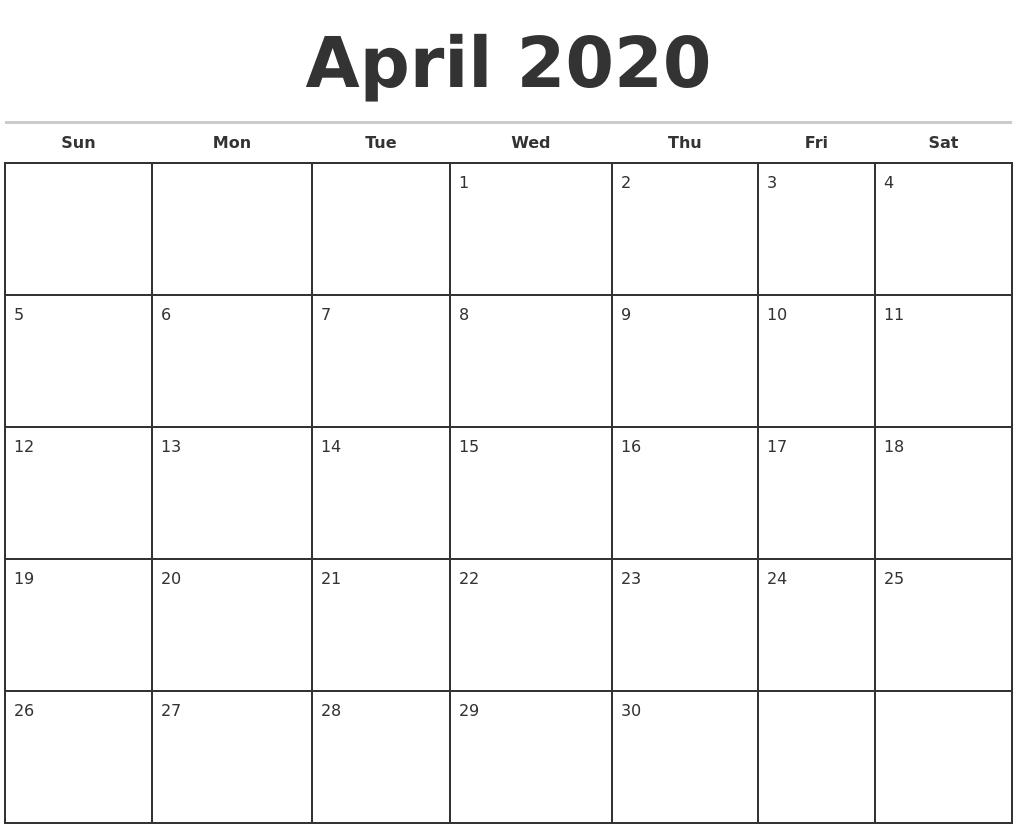 April 2020 Monthly Calendar Template-Fill In Calendar April 2020 Template