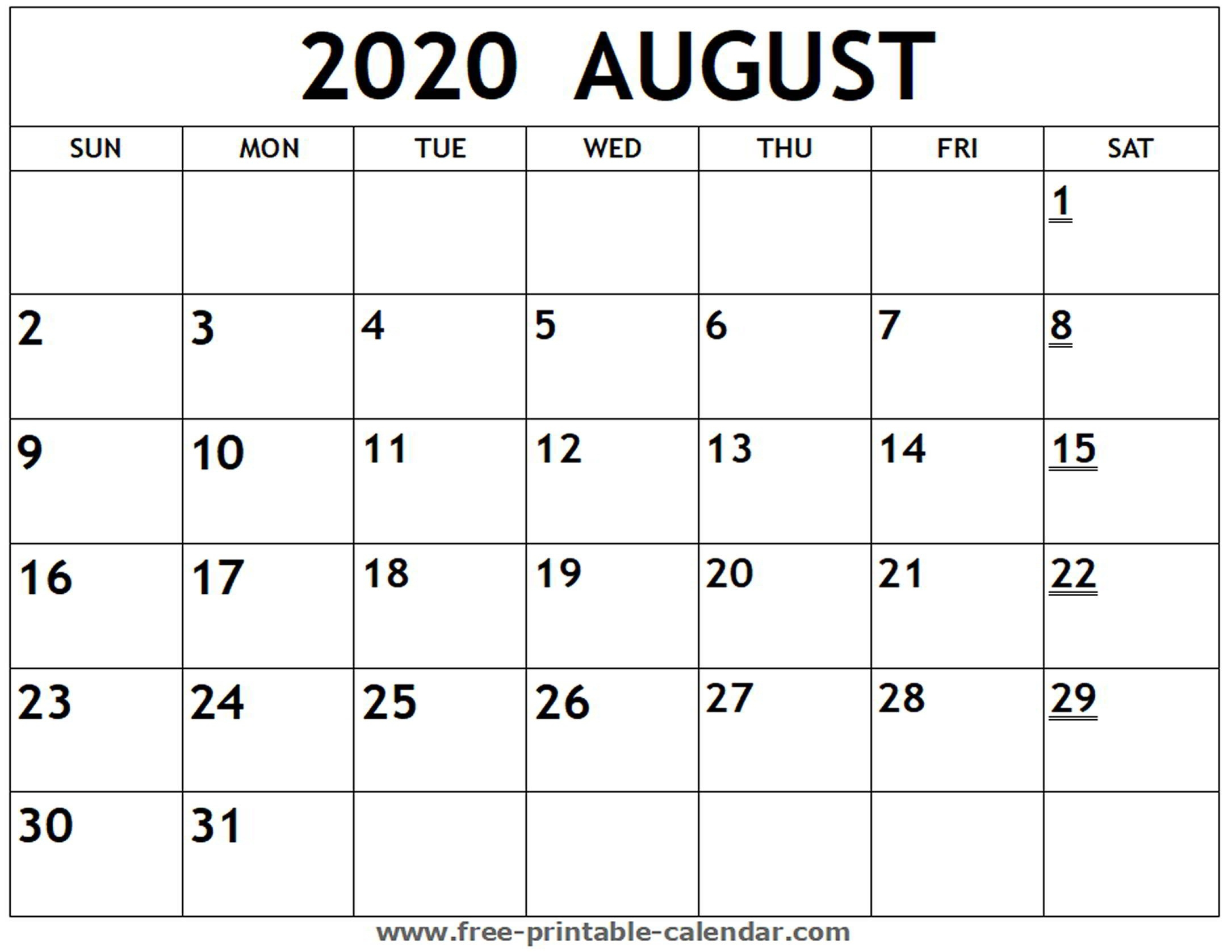 Aug Calendar 2020-Free Monthly Holiday Themed Calendar Printable 2020-2020