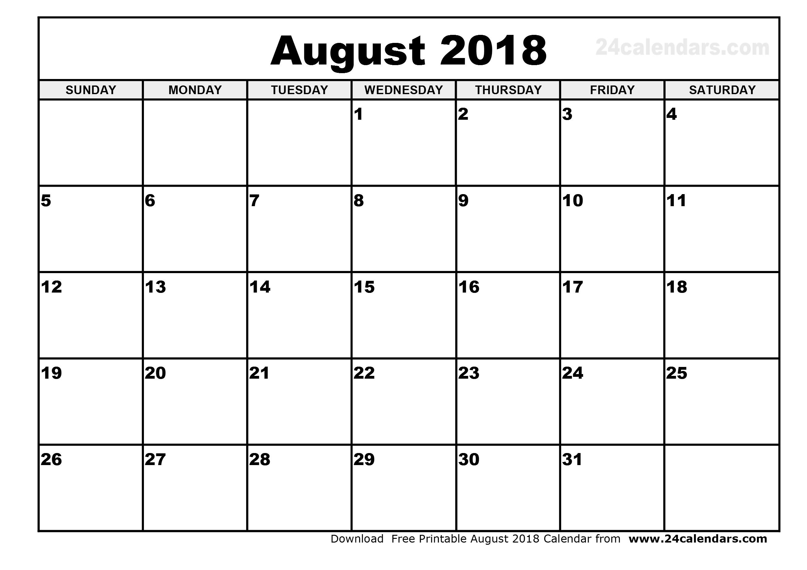August 2018 Calendar Philippines Holidays | Calendar 2018-August Monthly Calendar Template
