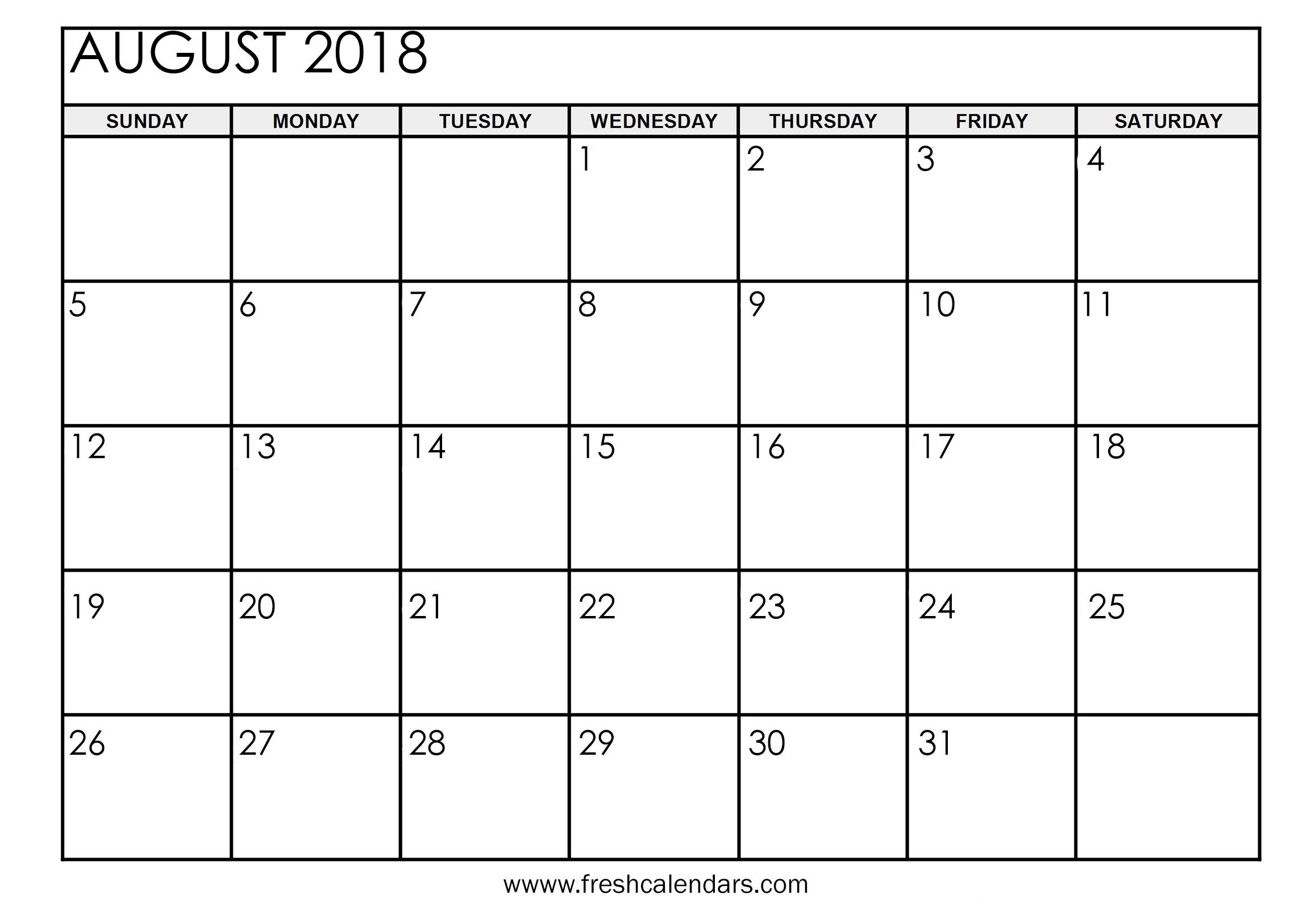 August 2018 Calendar Printable - Fresh Calendars-8X 10 Monthly Calaendar Printable