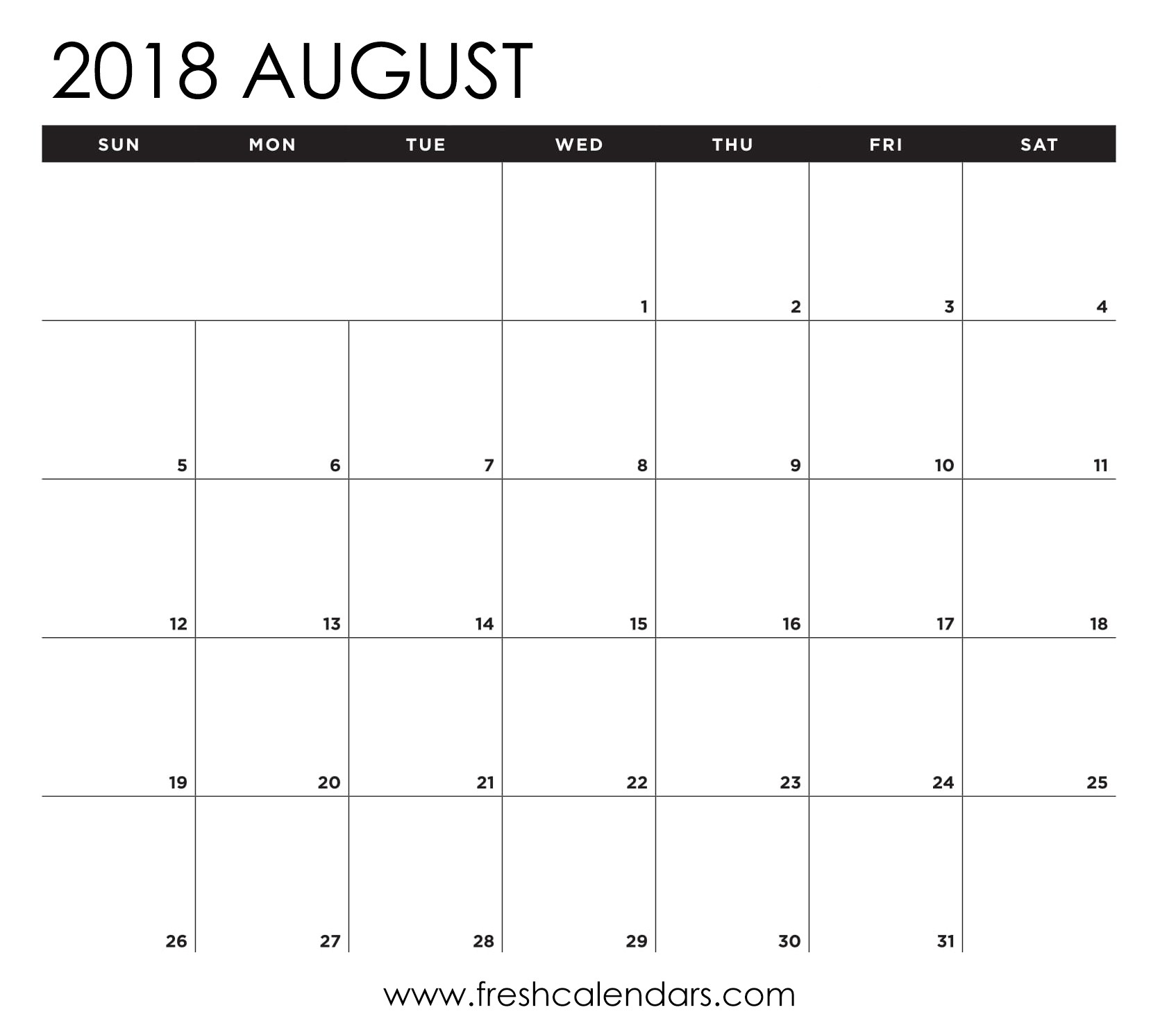 August 2018 Calendar Printable - Fresh Calendars-August Monthly Calendar Template