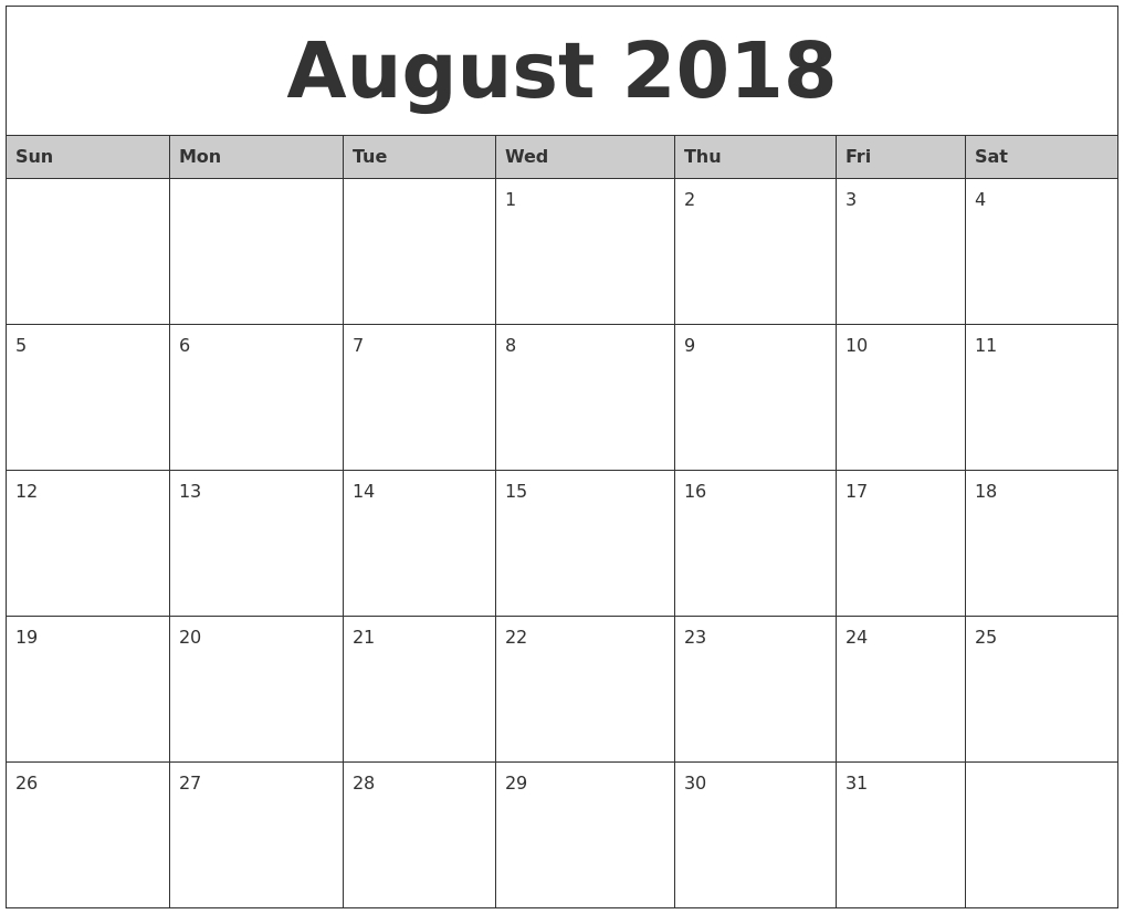 August 2018 Monthly Calendar Printable Pdf Template-August Monthly Calendar Template