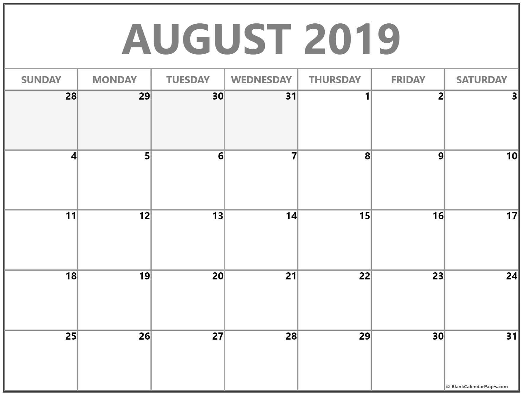 August 2019 Calendar | Free Printable Monthly Calendars-Blank Month Calendar No Weekend