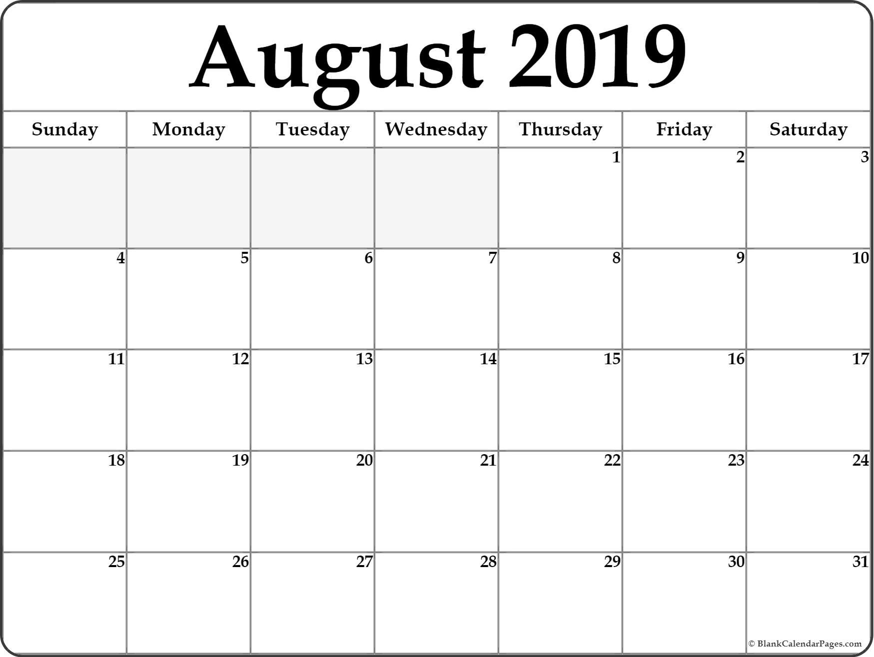 August 2019 Calendar | Free Printable Monthly Calendars-Printable Blank Calendars June July August