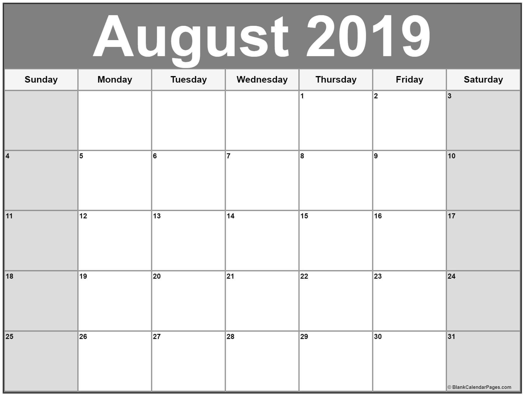 August 2019 Calendar Printable Free | Calendar Printables-January 2020 Calendar Canada Printable