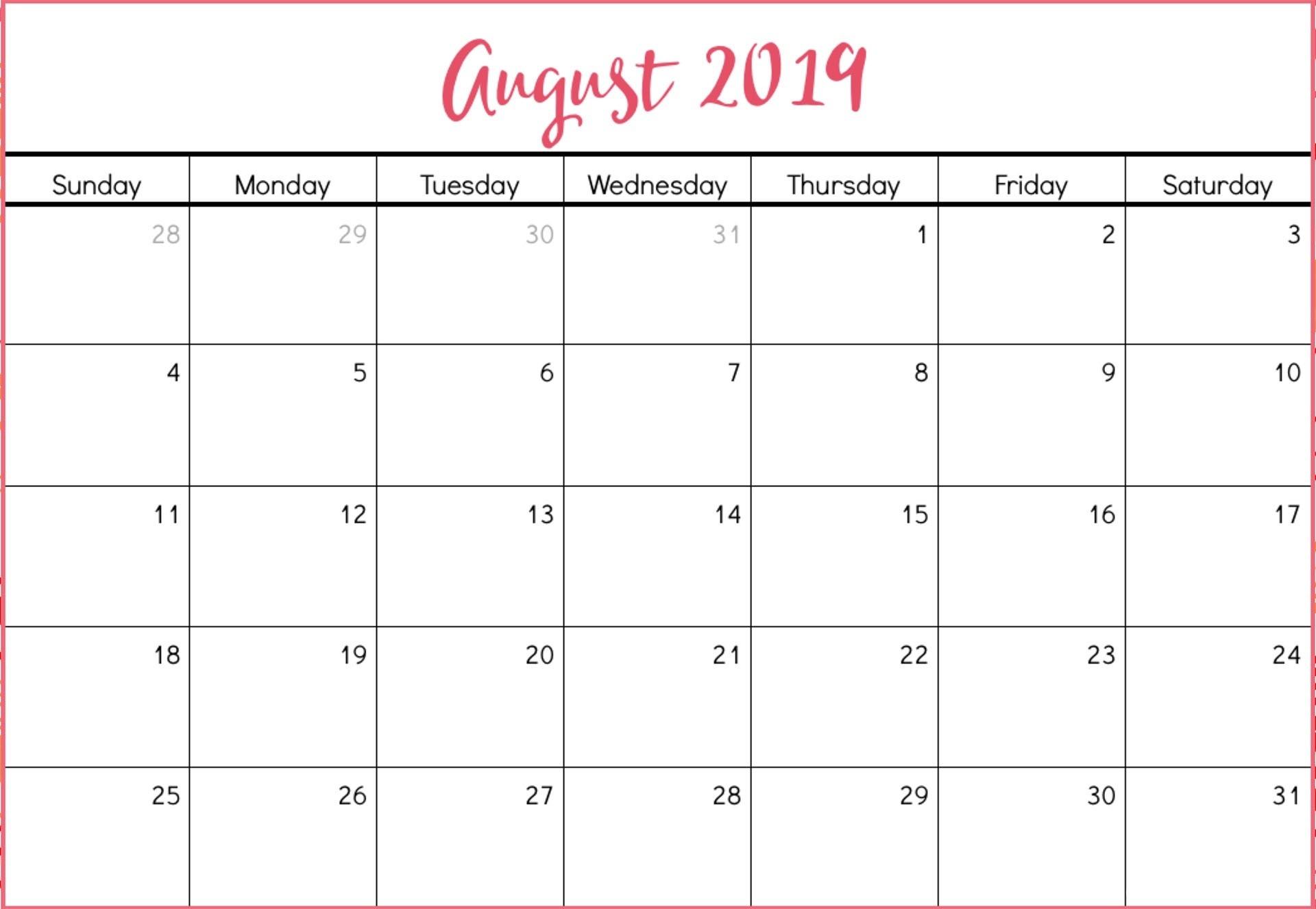 August 2019 Calendar Template Time Scheduler - Free-Free Calendar Template Printable 201