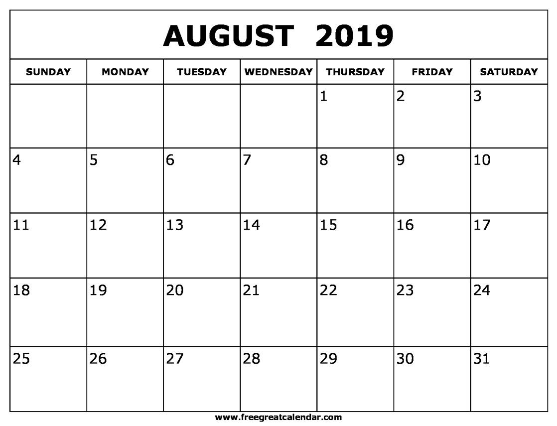August 2019 Calendar Templates | August 2019 Calendar-Blank Calenday Monyh Pages