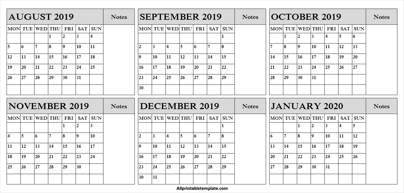 August 2019 January 2020 Calendar | Fillable Calendar-January 2020 Yearly Calendar