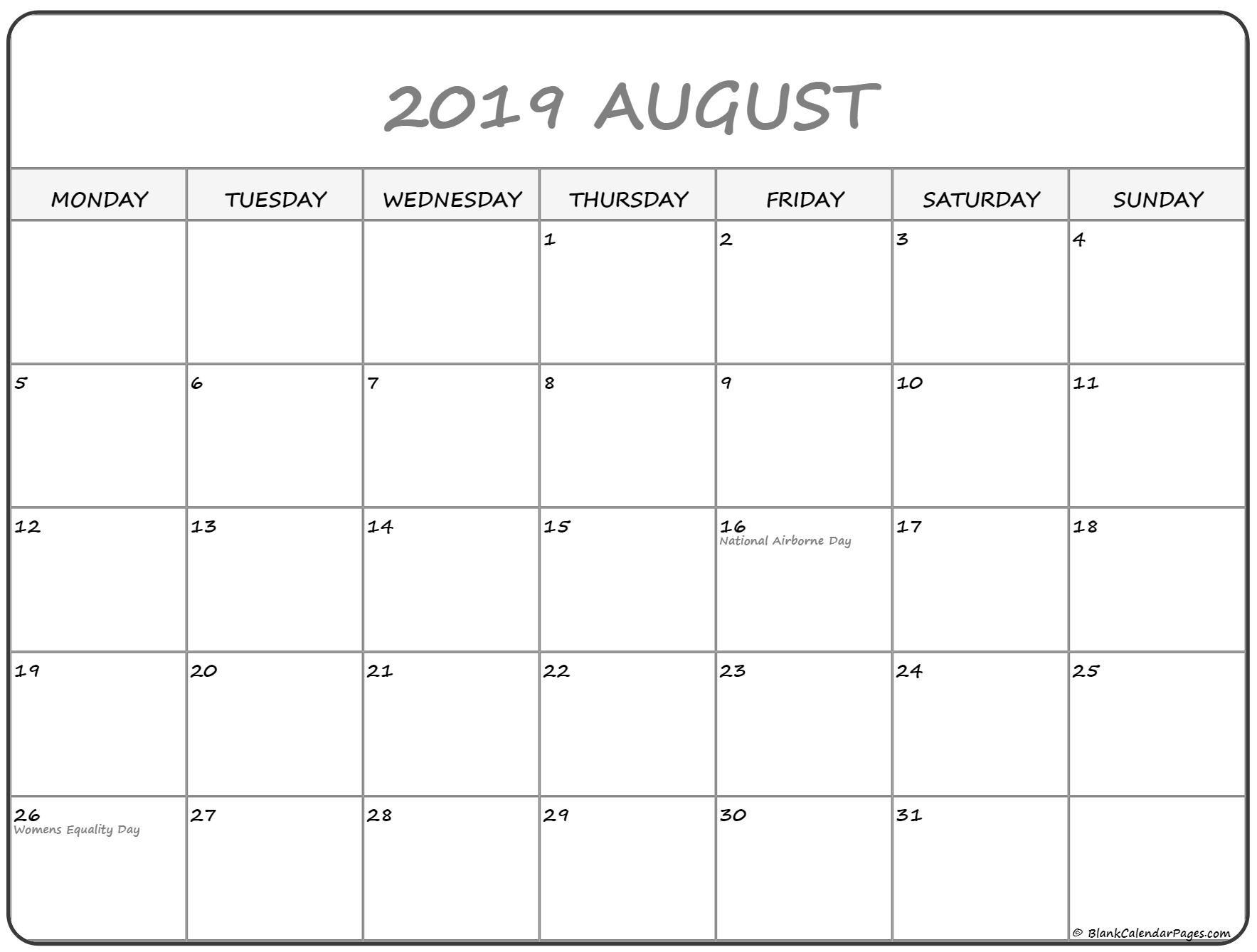 August 2019 Monday Calendar | Monday To Sunday-Blank Calendar Starting With Monday