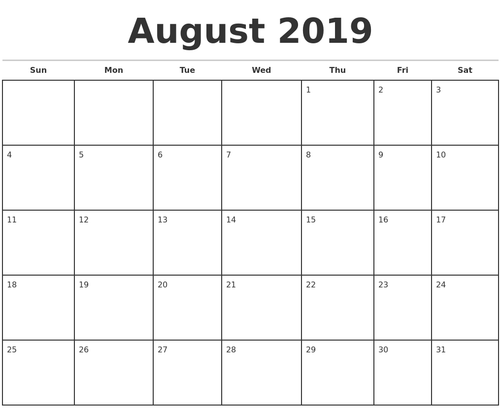 August 2019 Monthly Calendar Template-August Monthly Calendar Template