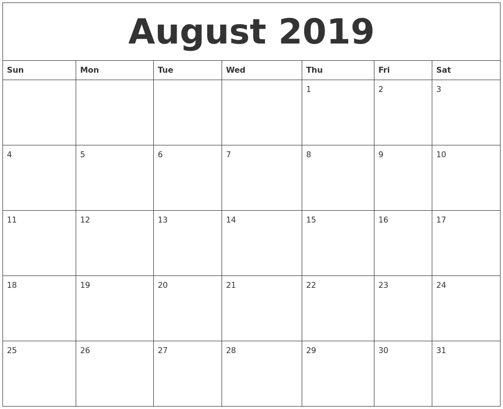 August 2019 Printable Calendar Pages-Blank Calenday Monyh Pages