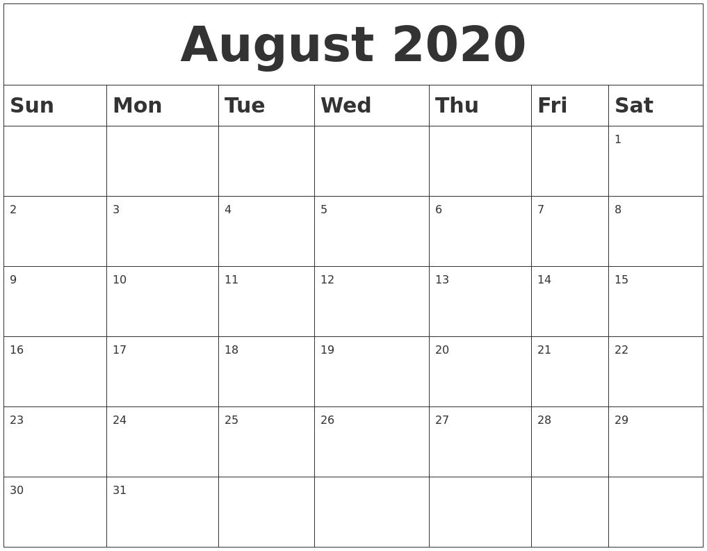 August 2020 Blank Calendar-Printable Blank 2020 Calendar For June July And August