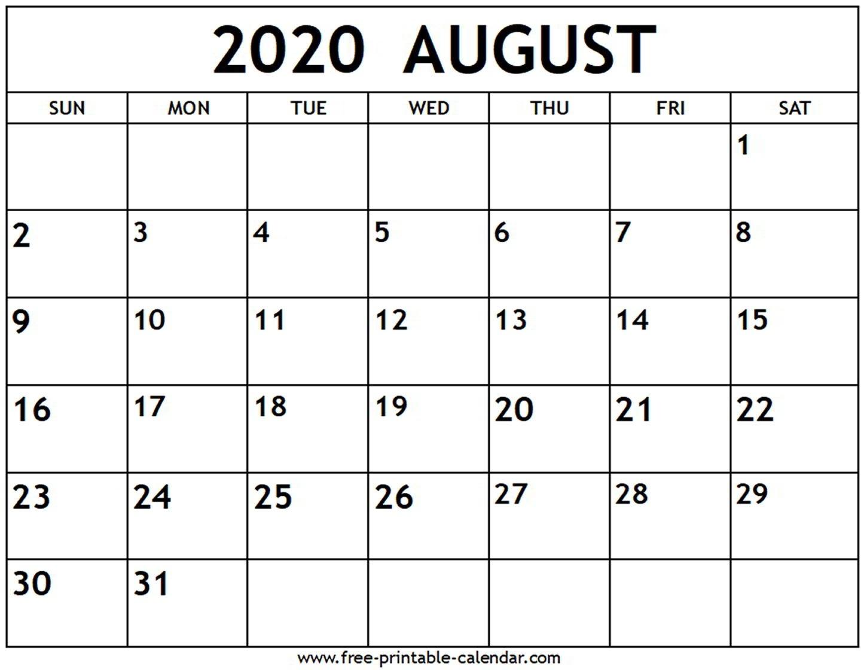 August 2020 Calendar - Free-Printable-Calendar-Calendar Template Fill In Aug 2020