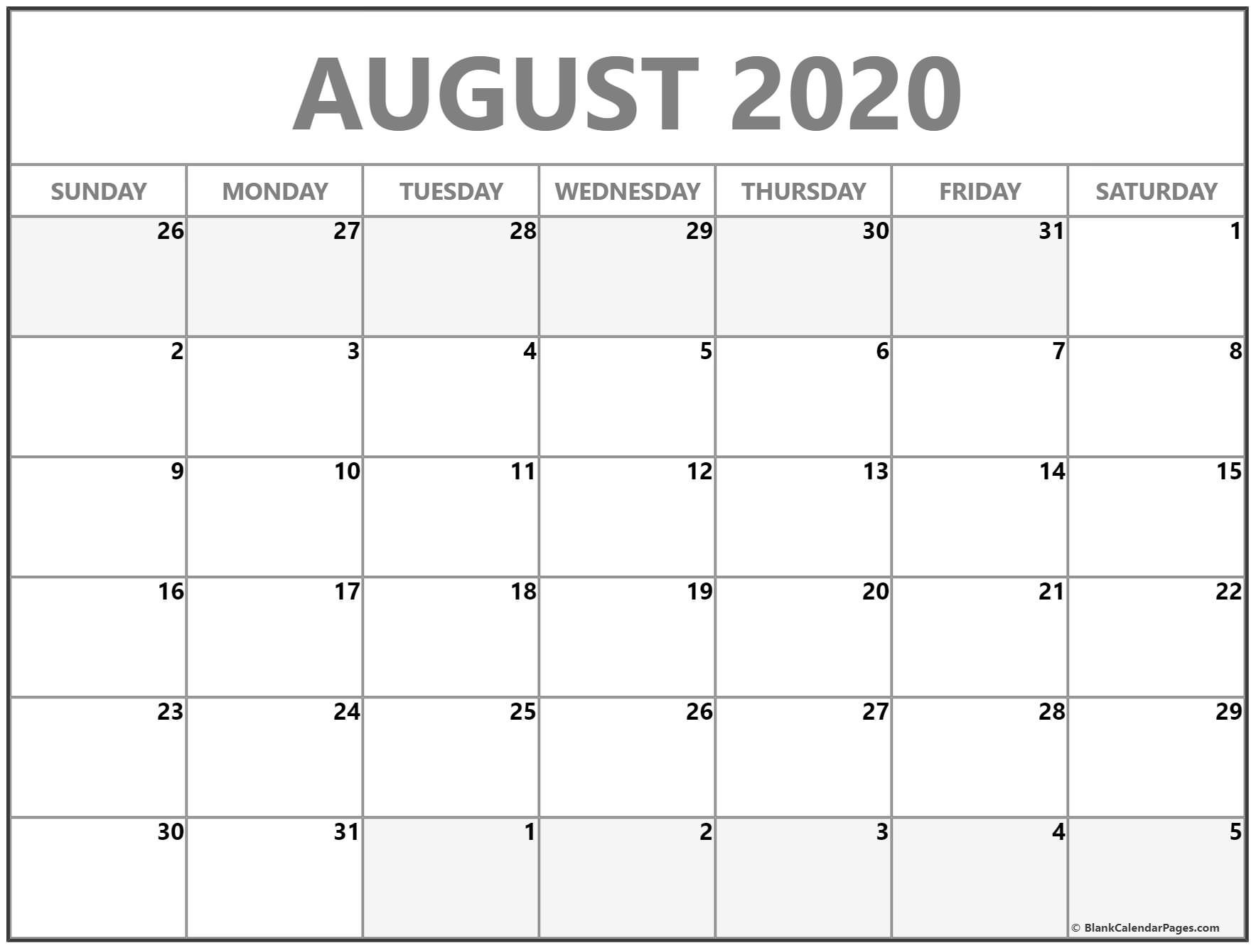 August 2020 Calendar | Free Printable Monthly Calendars-2020 Monthly Calendar Template August Thru December