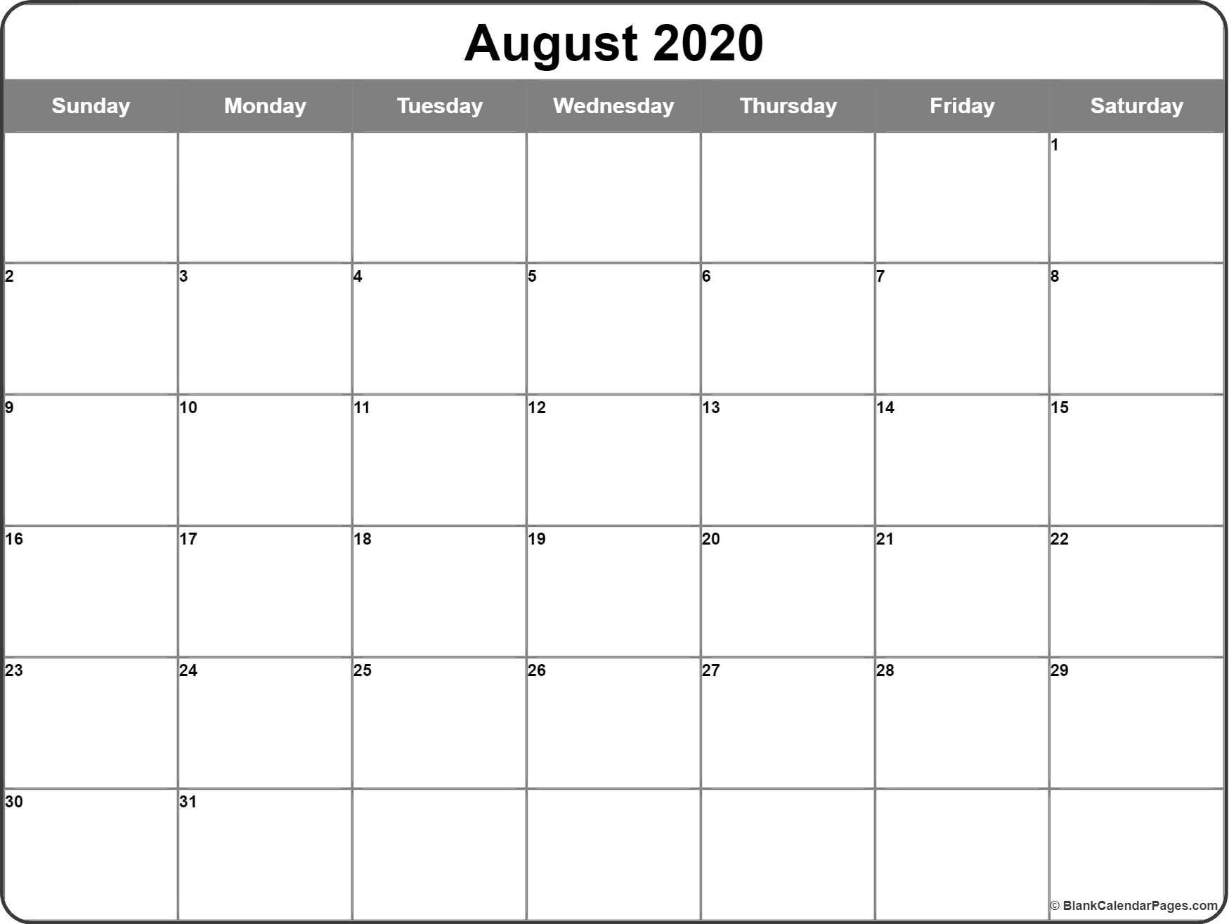 August 2020 Calendar | Free Printable Monthly Calendars-Monday Thru Friday Calendar Template 2020