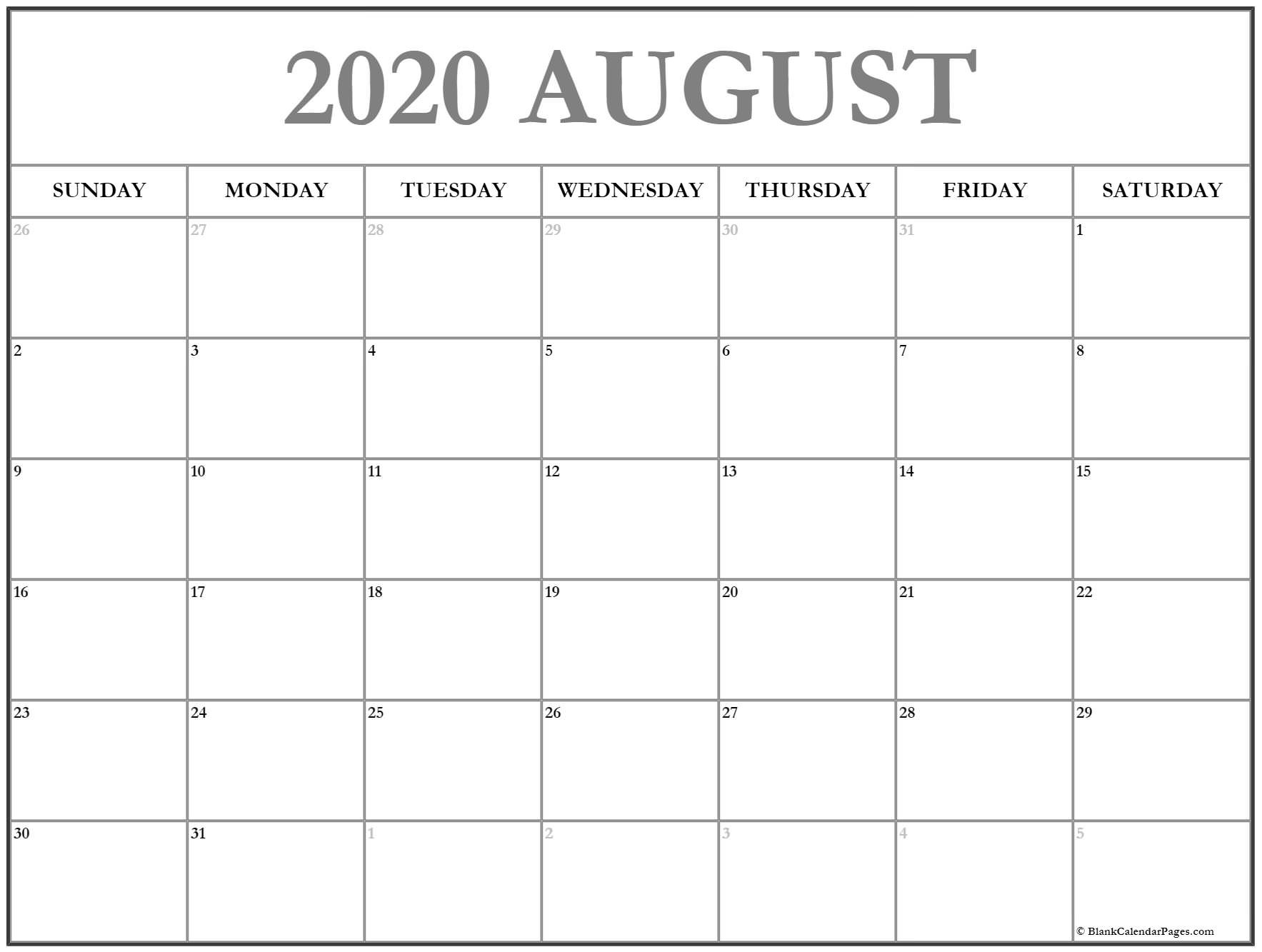 August 2020 Calendar | Free Printable Monthly Calendars-Printable Monthly Bill Pay Calendar 2020