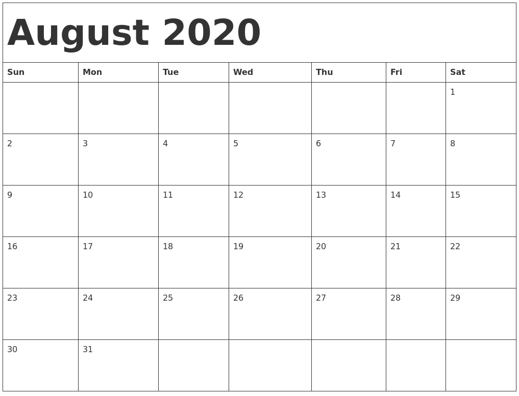 August 2020 Calendar Pdf, Word, Excel Printable Template-August 2020 Thru December 2020 Calendar Template