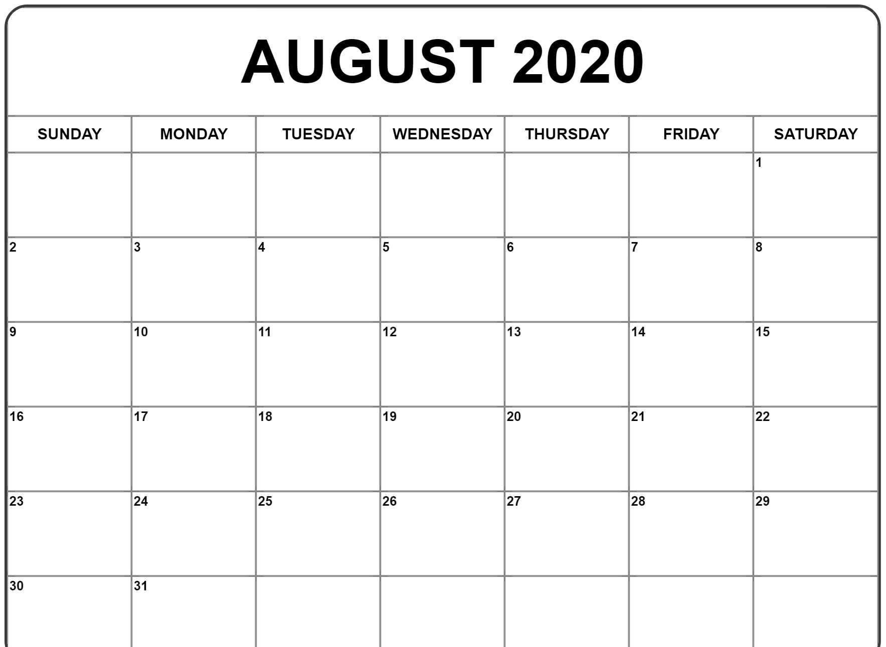 August 2020 Calendar Pdf, Word, Excel Printable Template-January 2020 Calendar Excel