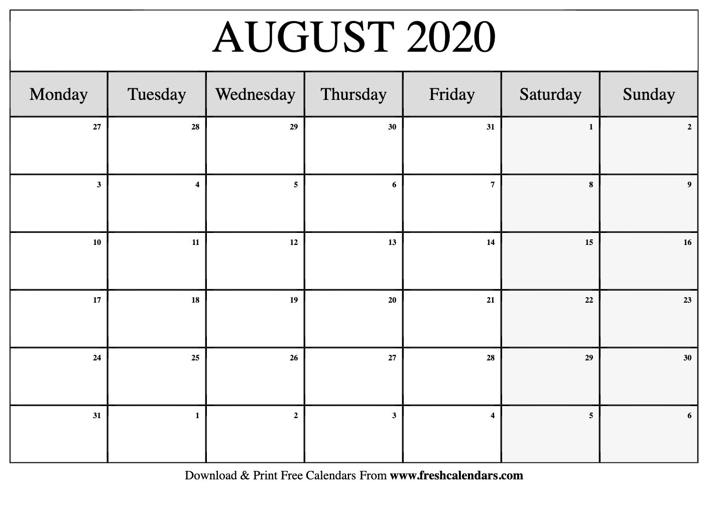 August 2020 Calendar Printable - Fresh Calendars-Monthly Planner June July August2020
