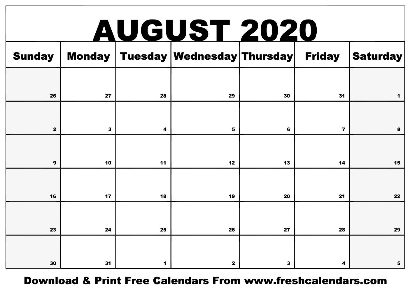 August 2020 Calendar Printable-Luxe Calendar Aug 2020 Blank Printable